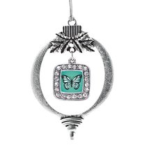Inspired Silver Teal Butterfly Classic Holiday Christmas Tree Ornament - $14.69