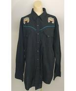 Ely Diamond XXL Thunderbird Western Embroidered Snap Shirt Mens Black LS... - $44.54