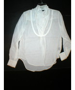 NWT LAMB New Ivory White Long Sleeve Silk Top Blouse 2 Womens Designer O... - $92.00