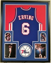 FRAMED JULIUS ERVING DR. J SIGNED PHILADELPHIA 76ERS JERSEY JSA W AUTHEN... - $474.41