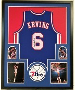 FRAMED JULIUS ERVING DR. J SIGNED PHILADELPHIA 76ERS JERSEY JSA W AUTHEN... - £364.64 GBP