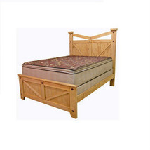 Western Santa Fe Queen Bed Rustic Cabin Lodge Southwest Style Barn Detail - $1,088.99