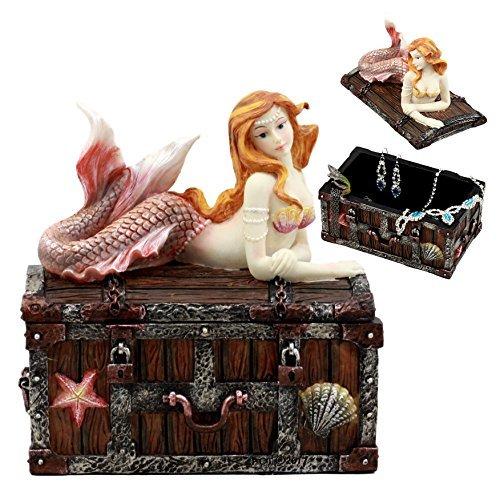 Ebros Bronzed Mermaid Nerida Resting On Sunken Treasure Jewelry Box Figurine 5.2