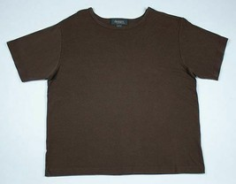 DESIGNS LANE BRYANT 18/20 BROWN RIBBED KNIT TOP SHORT SLEEVED COTTON RAYON - $14.84