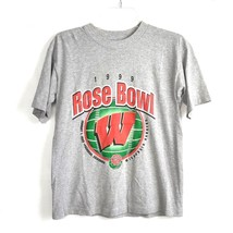 Vintage Wisconsin Badgers 1999 Rose Bowl T Shirt Sz L 14 - 16 Grey Unise... - $14.84