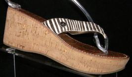 Sam Edelman Romy zebra print slip on thong cork platform wedges 7.5M - $35.21