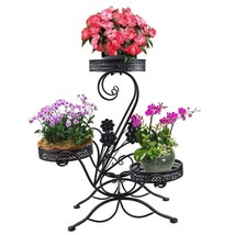 Garden Metal Plant Stand Scroll Classic Display Shelf Patio Flower Pot R... - $78.92 CAD