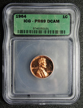 1964 Proof LINCOLN PENNY CENT COIN PR69DCAM DEEP CAMEO LOT# SR 1085