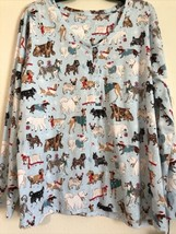 Sleep Sense Dogs Festive Christmas Cotton Knit Pajama Top Aqua Size 3X -... - $16.15