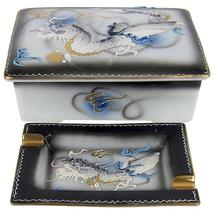 Vintage Dragonware Japanese Cigarette Box with Two Ashtrays - $100.00