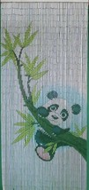 Natural Bamboo Beaded Curtain Panda Scene Beads Window Doors Room Divide... - $59.39
