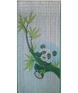 Natural Bamboo Beaded Curtain Panda Scene Beads Window Doors Room Divide... - $59.39
