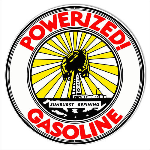 Powerized Gasoline Reproduction Motor Oil Metal Sign 18x18 Round