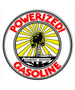 Powerized Gasoline Reproduction Motor Oil Metal Sign 18x18 Round - $46.53