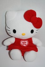 "HELLO KITTY 8"" Sits Plush Cat Red White No Sound Soft Toy Sanrio Stuffed... - $12.57"