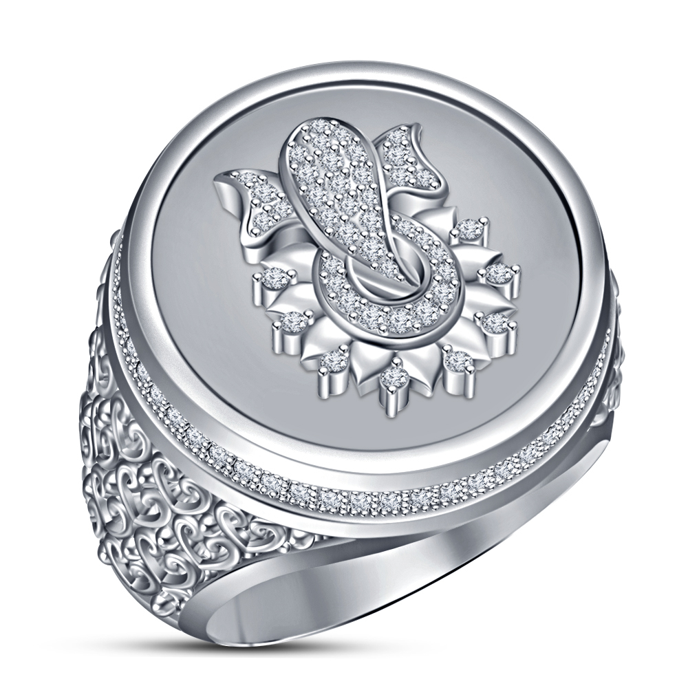 Primary image for Men's Band Ganesha Ring 14k White Gold Plated 925 Silver Round Cut Sim Diamond
