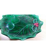FAB Vintage Holland Green/Red Ceramic Pedestal Holly Cake Plate Server - $20.00