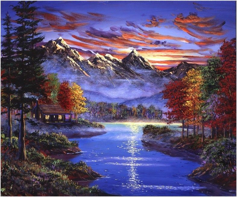 """Purple Scenery Birds Paint By Number kit 16x20/"""" DIY Acrylic Oil Painting Canvas"""