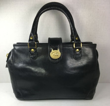 Brahmin Vintage Small Black Leather Satchel Handbag - $96.02