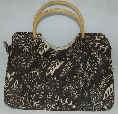 Gift Gallery by Gift Craft Jute Cane Leaf Motif Tote Brown Tan Natural Fiber