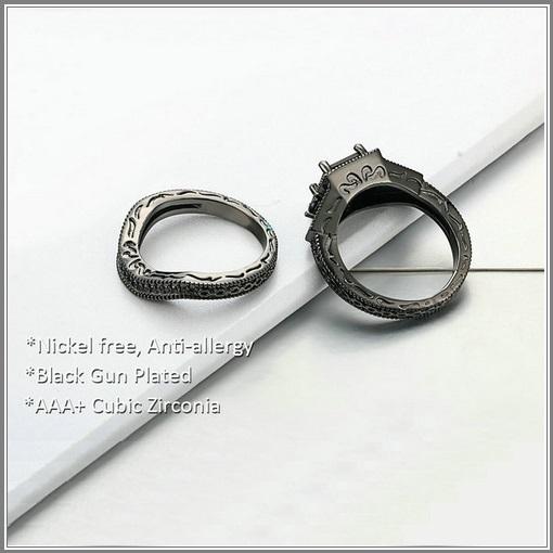 Exquisette Black Pave Cubic Zircons Black Diamonds Black Gold Plated Rings Sets