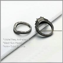Exquisette Black Pave Cubic Zircons Black Diamonds Black Gold Plated Rings Sets image 3