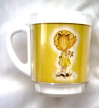 Vintage Holly Hobbie Thermo Serve Mug Yellow White Plastic Rare - $14.99