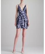 Vera Wang Collection Size 2 Plunging Floral Jacquard Dress Tulip skirt EUC - $98.01