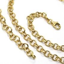 18K YELLOW GOLD CHAIN 15.75 IN, ROUND CIRCLE ROLO LINK DIAMETER 4 MM MADE ITALY image 4