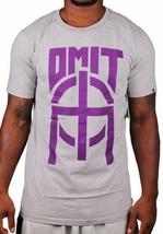 Omit Uomo Basic Grigio Erica Joker Viola Logo T-Shirt Nwt