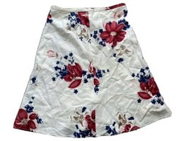 Ann Taylor Loft Silk Blend White Red Floral Flare Skirt Lined Womens Sz ... - $23.39