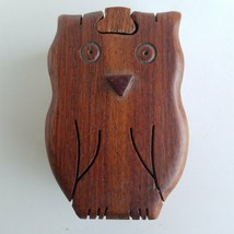 Owl Puzzle Box Hardwood Handcrafted - $24.73