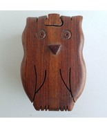 Owl Puzzle Box Hardwood Handcrafted - $18.52