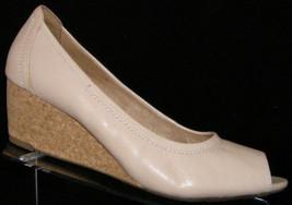 Clarks Vendra Daisy pink leather peep toe slip on cork mid wedge 9.5M 5746 - $35.21