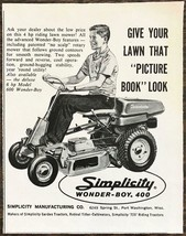 1962 Simplicity Wonder Boy 400 Riding Lawn Mower Print Ad No Scalp Rotary - $8.95