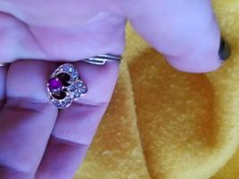 Paranormal Dashing Italian Renaissance Vampire Ruby Ring White Shaphires Size 7 - $250.00