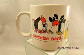 Jim Benton Penquins Exercise Mug Cup Humorous Cartoon by Russ Berrie Co ... - $13.99