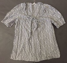 Retro Gap Shirt Blouse M Charcoal Gray White Plunging V-Neck Tied Neckline Mod - $11.87