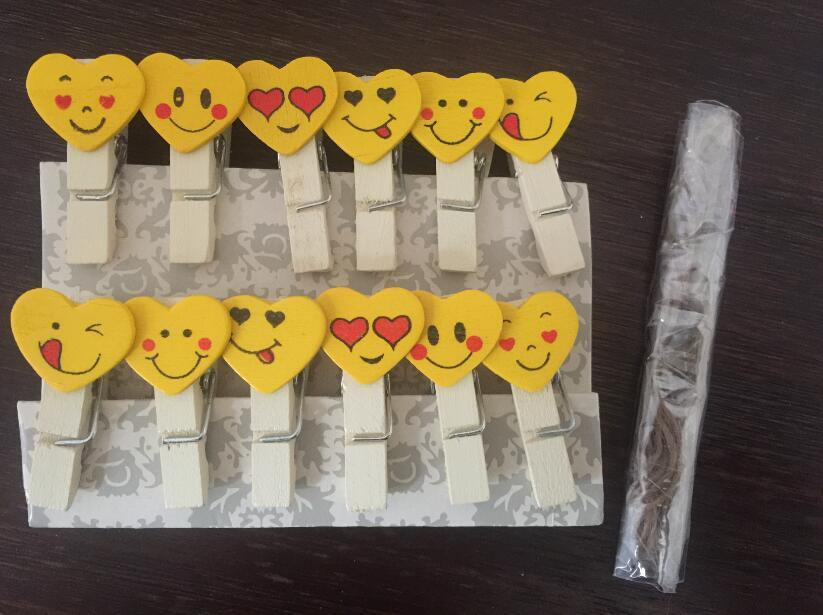Primary image for 12pcs Smile Cute Wooden Clips,Wooden Pegs,Picture Photo Pin Clothespin