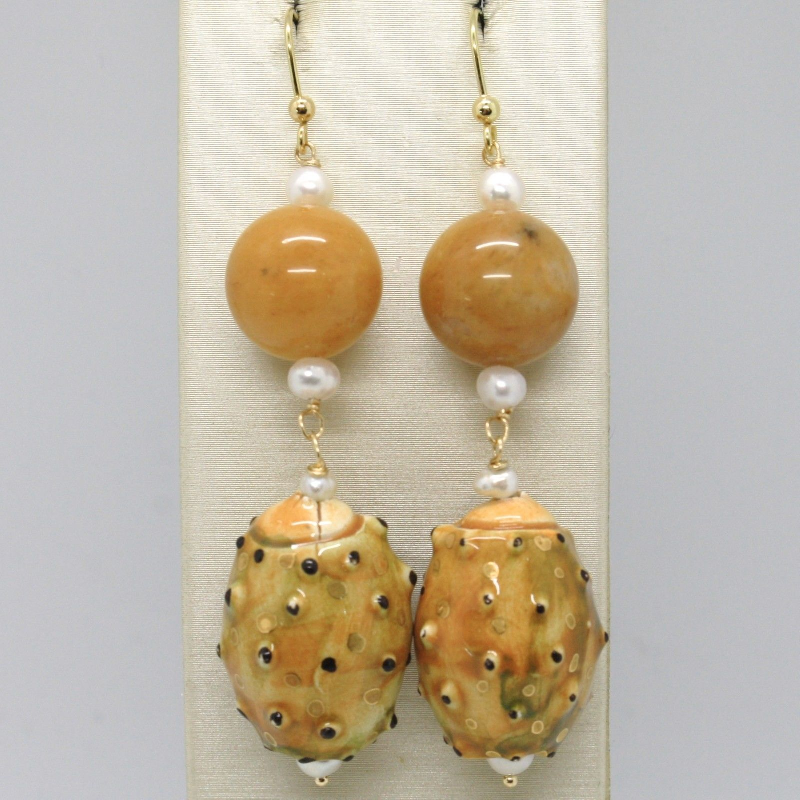 18K YELLOW GOLD EARRINGS ARAGONITE CERAMIC PRICKLY PEAR HAND PAINTED IN ITALY