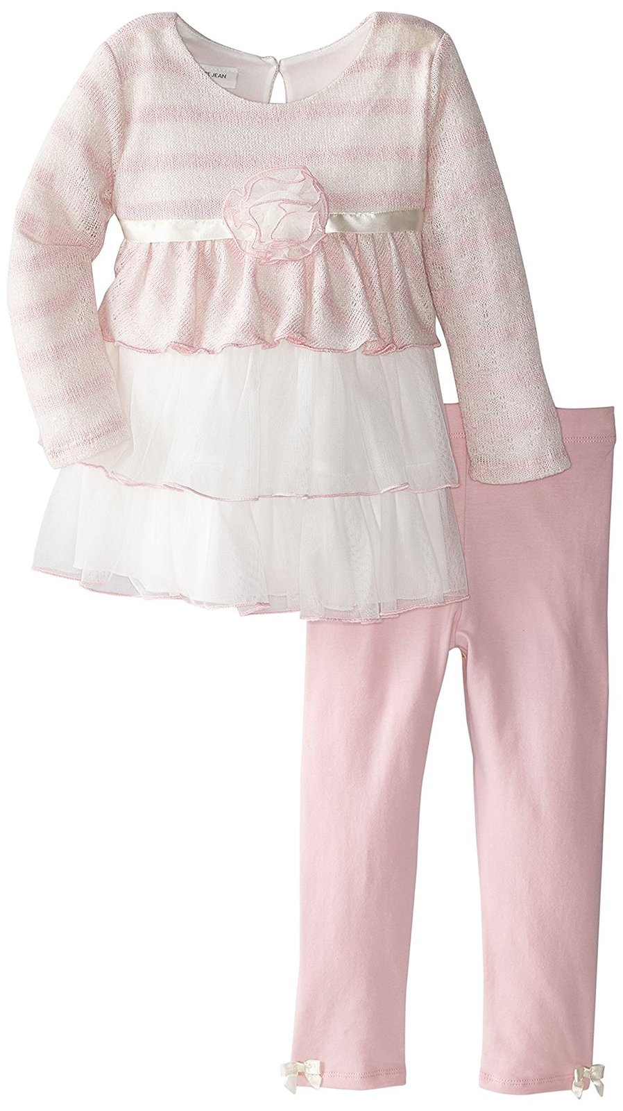 Bonnie Jean Little Girl 2T-6X Pink/white Long Sleeve Triple Tier Dress/legging S