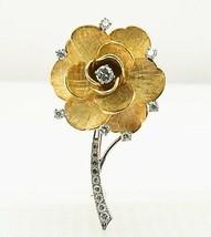 """Diamond Tiffany & Co Rose Flower Brooch Pin 18K Gold 21gr 2.25"""" - $5,900.00"""