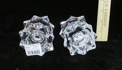 Mikasa Candle Holders Clear Crystal Glass Sparkling Star Tea Lights Set of 6 NOS