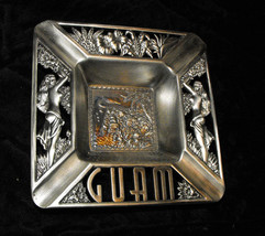 Guam Vintage Souvenir Metal Ashtray hula girls islands - $16.99