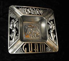 Guam Vintage Souvenir Metal Ashtray hula girls islands - $16.99