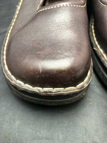 BORN Women's Sz 9.5M 41 Brown Leather Mary Jane Flats Comfort Shoes Buckle Wedge