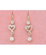 ANTIQUE NOUVEAU .62ctw DIAMOND 2-STONE 18K PLATINUM SMALL DANGLE EARRING... - £960.78 GBP