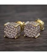 Gold Circle Lab Simulated Diamond Men's Stud Earrings - £19.36 GBP