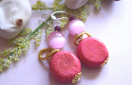 Natural Coral and  Pink Cat Eye 925 Sterling Silver hook earrings with g... - $30.00
