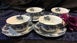 ATQ W.H. GRINDLEY ENGLAND MERION PATTERN FLOW BLUE LOT OF 4 TEACUP & SAU... - $48.00